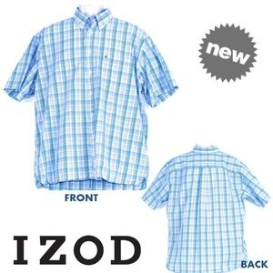 🌟  IZOD Short Sleeves Button Down Checkered Polo